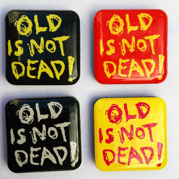 4 pcs set of square Old is not dead! fridge magnets