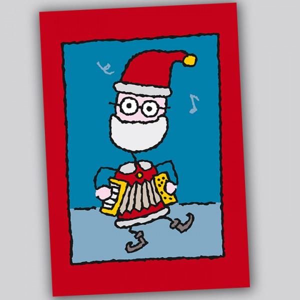 Eläkeläiset - Santa with accordion Weihnachtspostkarte